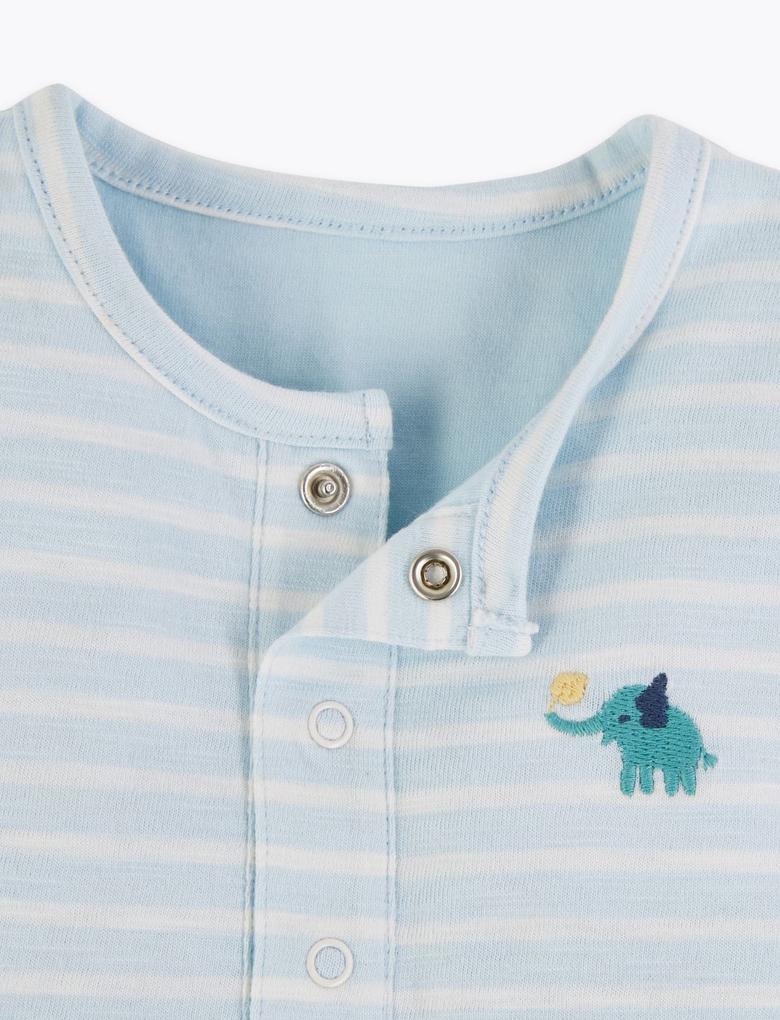 Bebek Mavi Saf Pamuklu Çizgili Tulum