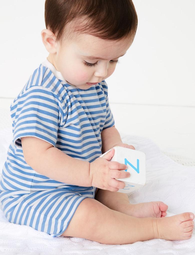 Bebek Mavi Saf Pamuklu Şort