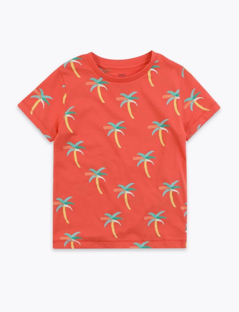 Erkek Çocuk Kırmızı Palmiye Ağacı Desenli T-Shirt