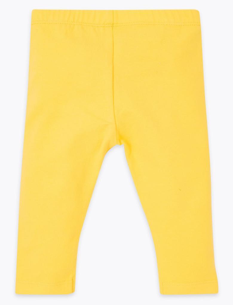 Bebek Sarı Pamuklu Tayt