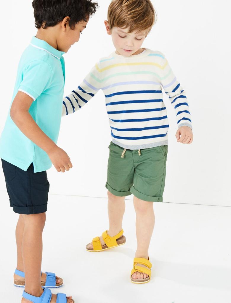 Erkek Çocuk Yeşil 2'li Saf Pamuklu Şort Seti