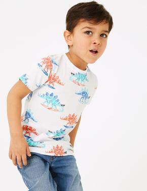 Erkek Çocuk Beyaz Dinozor Desenli Kısa Kollu T-Shirt