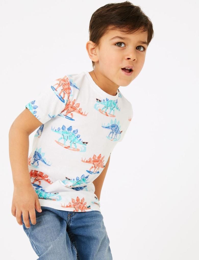 Erkek Çocuk Beyaz Dinozor Desenli T-Shirt