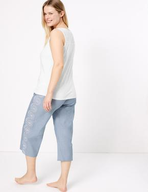 Kadın Mavi İşlemeli Pamuklu Pijama Takımı