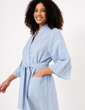 Kadın Mavi İşlemeli Pamuklu Sabahlık