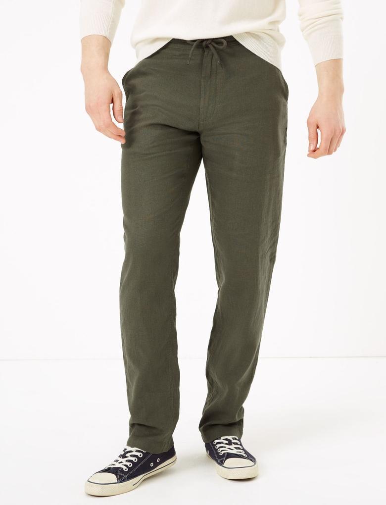 Yeşil Keten Regular Fit Pantolon