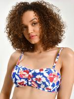 Kadın Mavi Çiçek Desenli Bikini Üstü