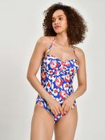 Kadın Mavi Secret Slimming™ Çiçek Desenli Mayo