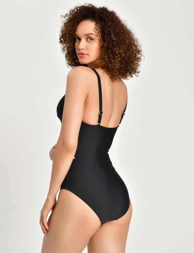 Kadın Siyah Secret Slimming™ Plunge Mayo