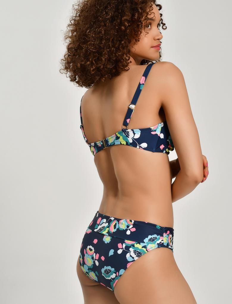 Kadın Lacivert Çiçek Desenli Önü Büzgülü Bikini Üstü