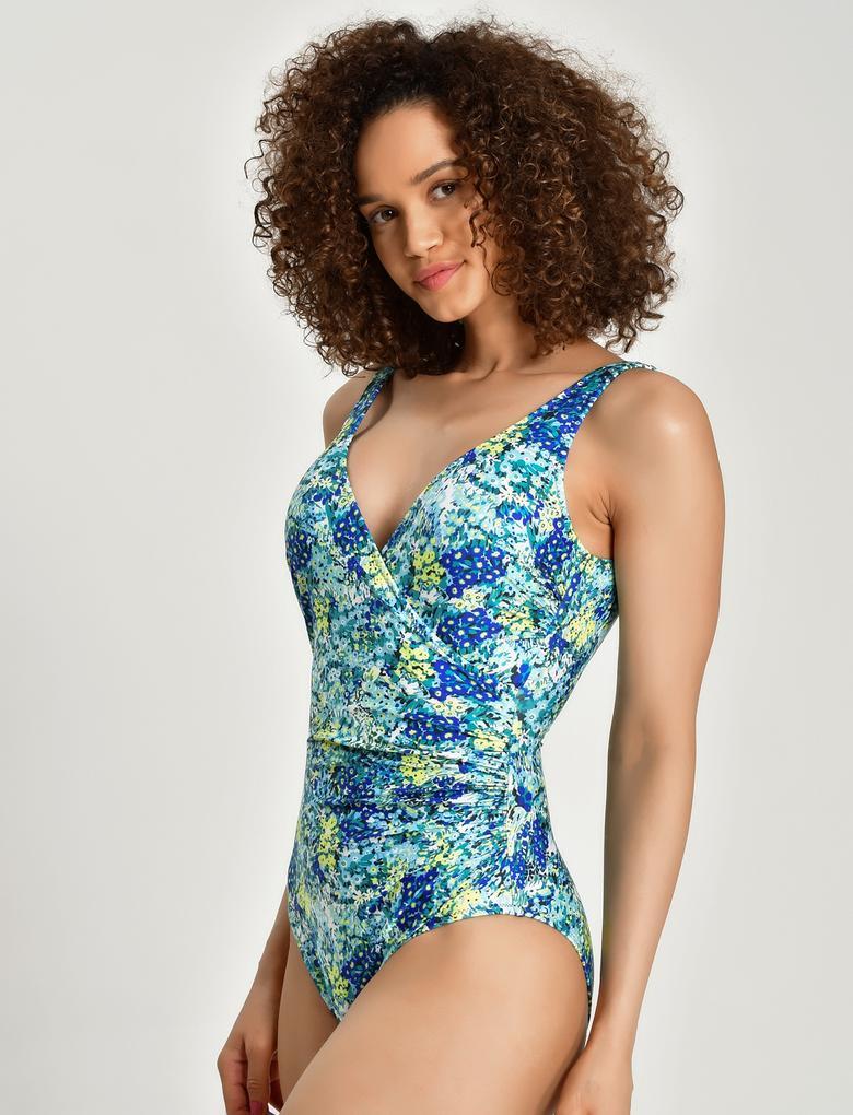 Kadın Yeşil Secret Slimming™ Çiçek Desenli Mayo