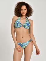 Kadın Yeşil Çiçek Desenli Halka Detaylı Bikini Üstü