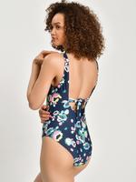 Kadın Lacivert Secret Slimming™ Çiçek Desenli Mayo