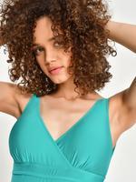 Kadın Mavi Secret Slimming™ Kruvaze Yakalı Plunge Mayo