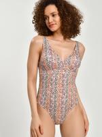Kadın Bej Secret Slimming™ Desenli Plunge Mayo