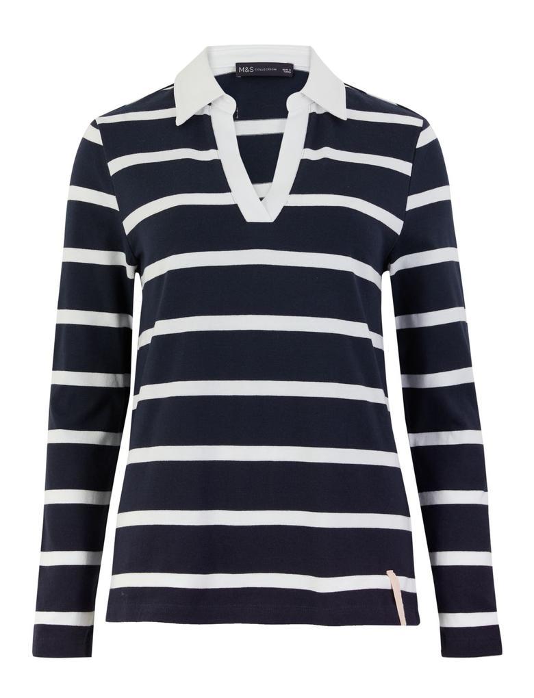 Kadın Lacivert Uzun Kollu Saf Pamuklu Bluz