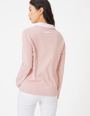 Kadın Pembe Uzun Kollu Saf Pamuklu Bluz