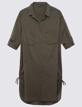 Kadın Yeşil Saf Pamuklu Gömlek Plaj Elbisesi