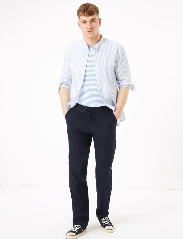Lacivert Keten Regular Fit Pantolon