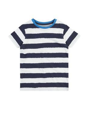 Erkek Çocuk Lacivert Saf Pamuklu Çizgili T-Shirt