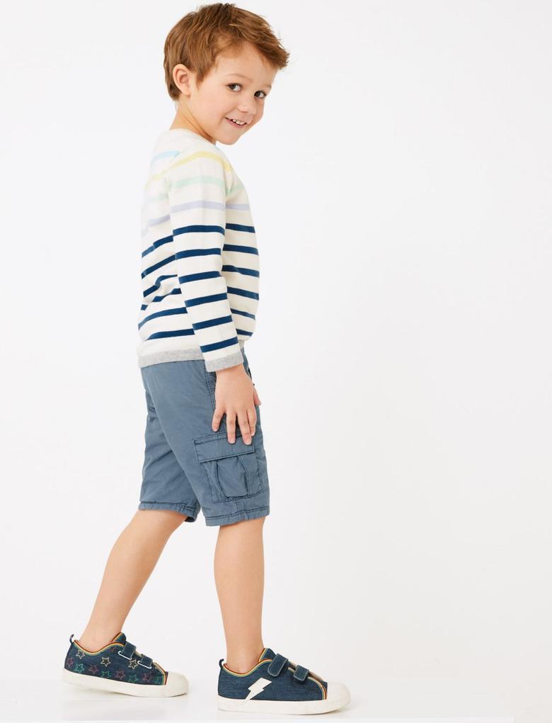 Erkek Çocuk Mavi Pamuklu Kargo Şort
