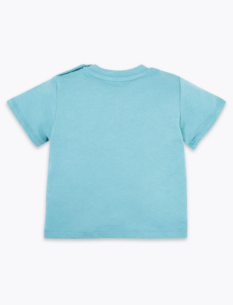Bebek Mavi Desenli Kısa Kollu T-Shirt