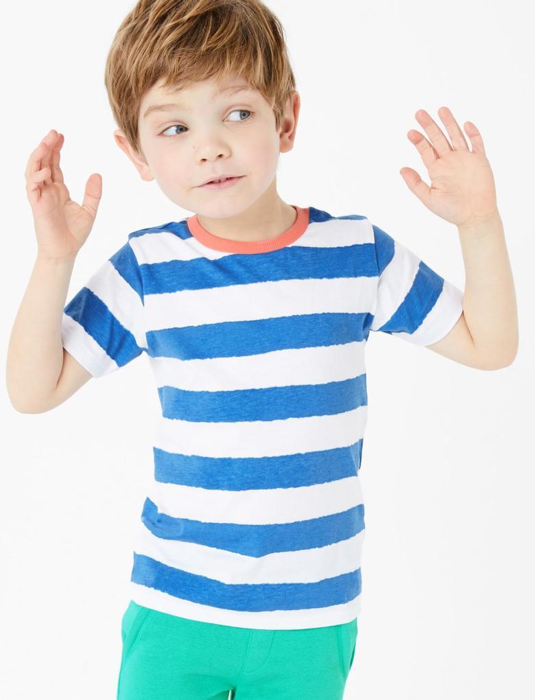 Erkek Çocuk Mavi Saf Pamuklu Çizgili T-Shirt