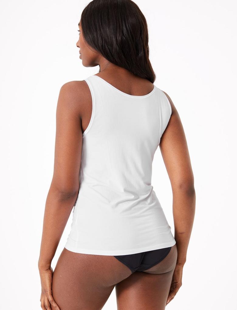 Kadın Beyaz Flexifit™ Kolsuz Atlet