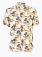 Erkek Bej Hawaiian Kısa Kollu Gömlek