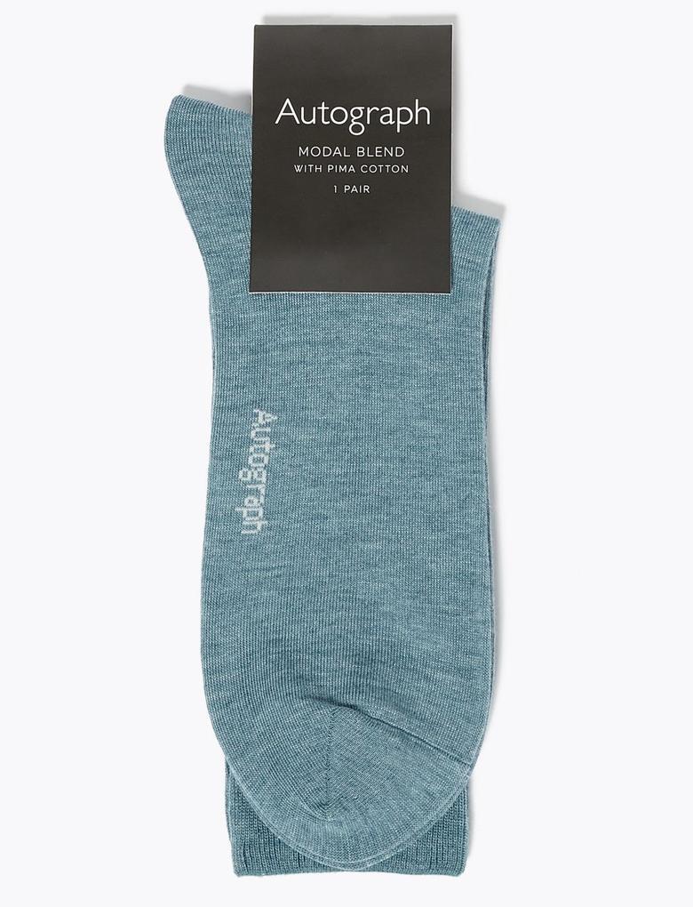 Erkek Mavi Modal Karışımlı Çorap