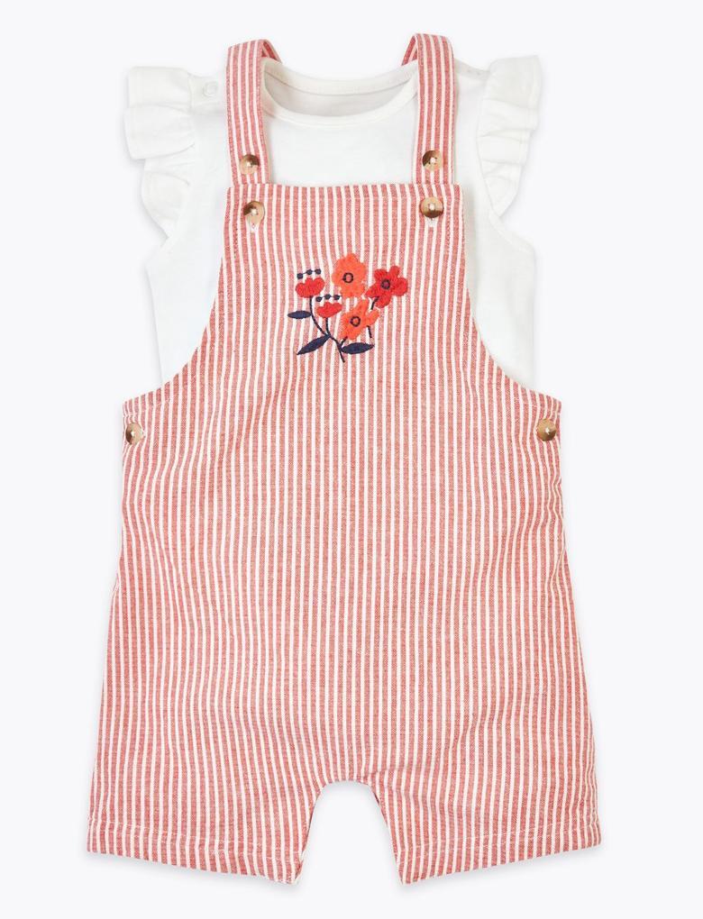 Bebek Pembe Saf Pamuklu Salopet ve Body Takımı