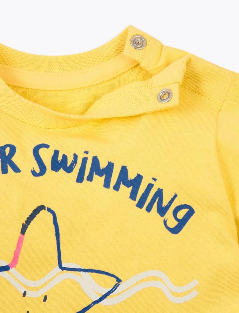 Bebek Sarı Saf Pamuklu Kısa Kollu T-Shirt