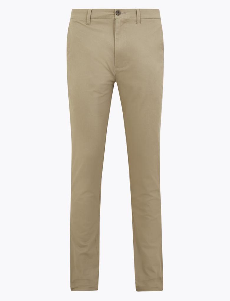 Erkek Gri Slim Fit Chino Pantolon