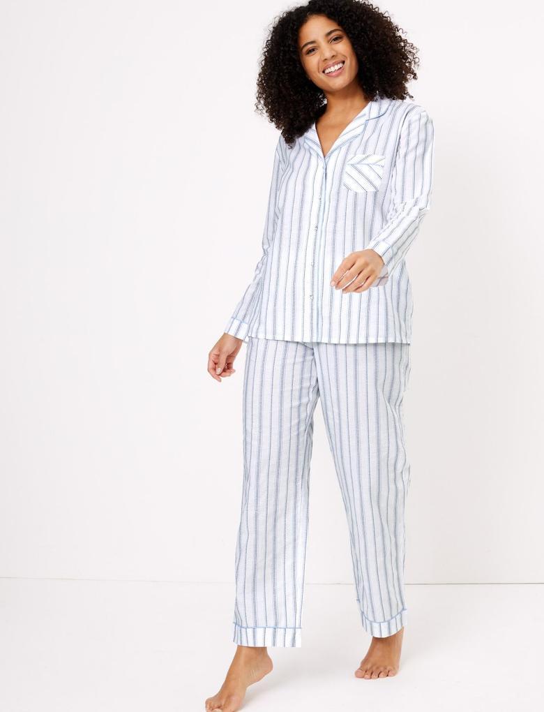 Kadın Mavi Uzun Kollu Çizgili Pijama Takımı