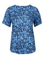 Kadın Mavi Kalp Desenli Kısa Kollu T-Shirt