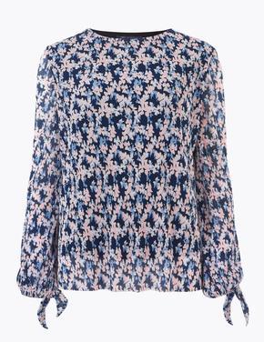 Kadın Mavi Çiçek Desenli Uzun Kollu Bluz