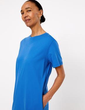 Kadın Mavi Saf Pamuklu Midi Elbise