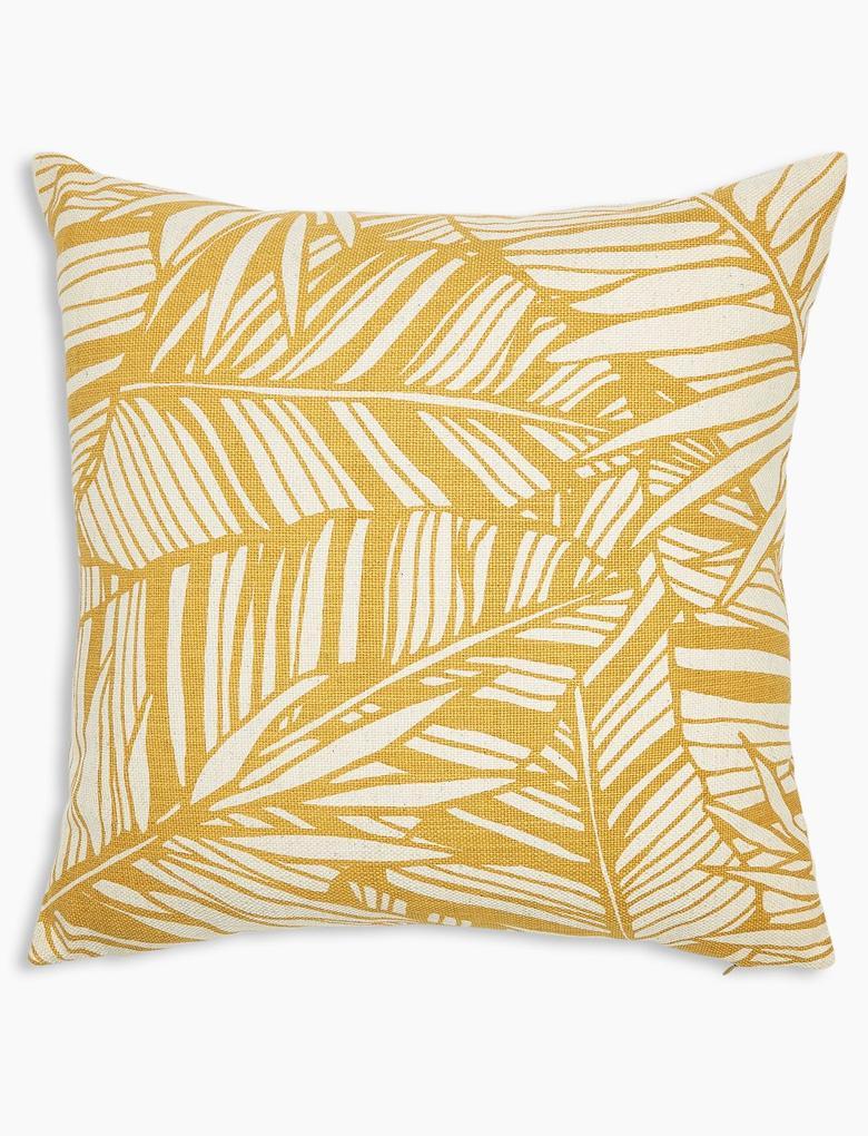 Ev Sarı Yaprak Desenli Dekoratif Yastık