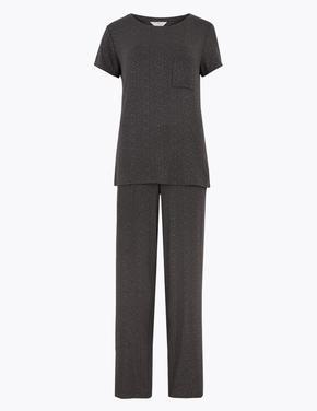 Kadın Gri Kısa Kollu Desenli Pijama Takımı