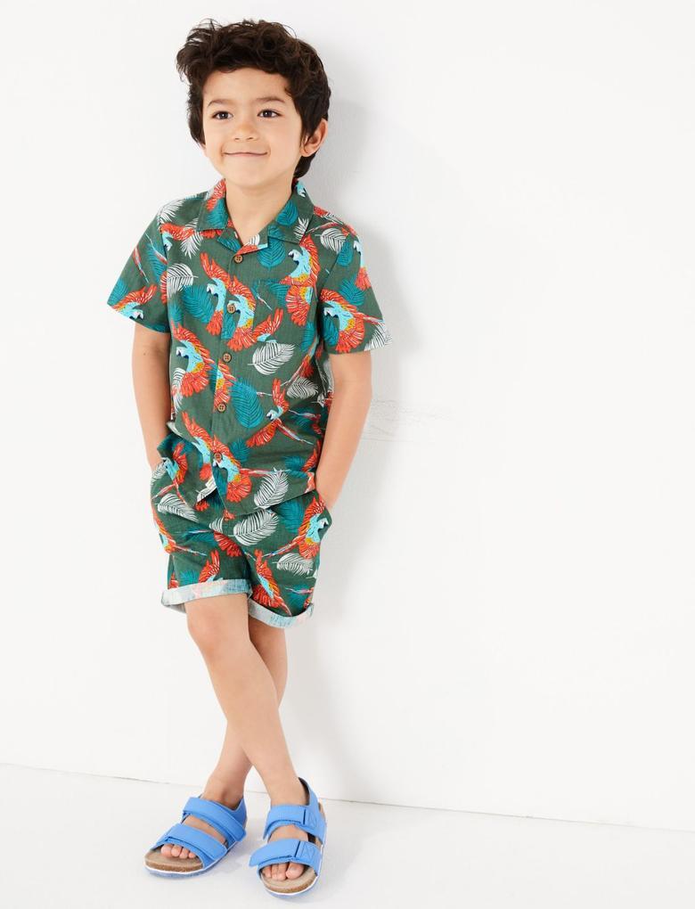 Erkek Çocuk Yeşil Saf Pamuklu Papağan Desenli Şort