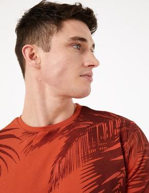 Erkek Turuncu Desenli Kısa Kollu T-Shirt