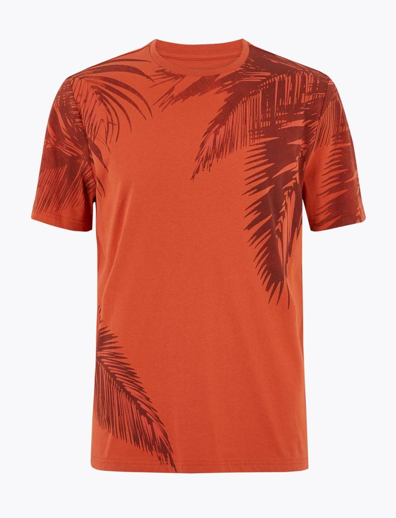 Turuncu Desenli Kısa Kollu T-Shirt