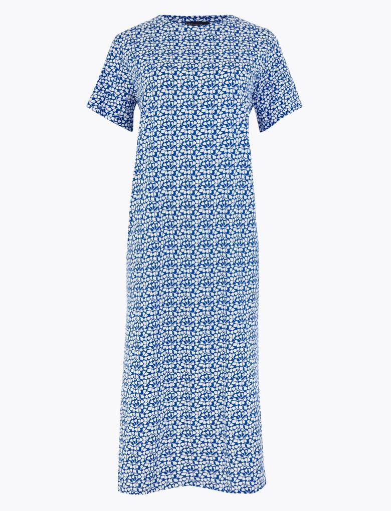 Kadın Mavi Desenli Midi Elbise