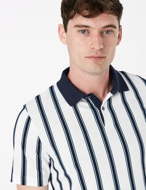 Beyaz Saf Pamuklu Çizgili Polo Yaka T-Shirt