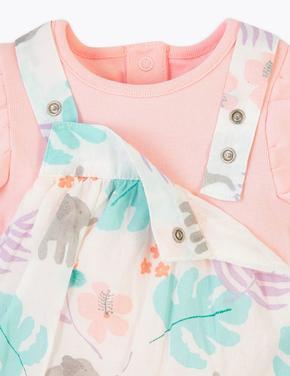Bebek Pembe Çiçek Desenli Tulum Body ve Şapka Takımı
