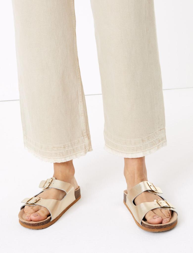 Kadın Bej Şal Bağlamalı Yüksek Bel Wide Leg Pantolon
