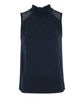 Kadın Lacivert Kolsuz Straight Fit Bluz