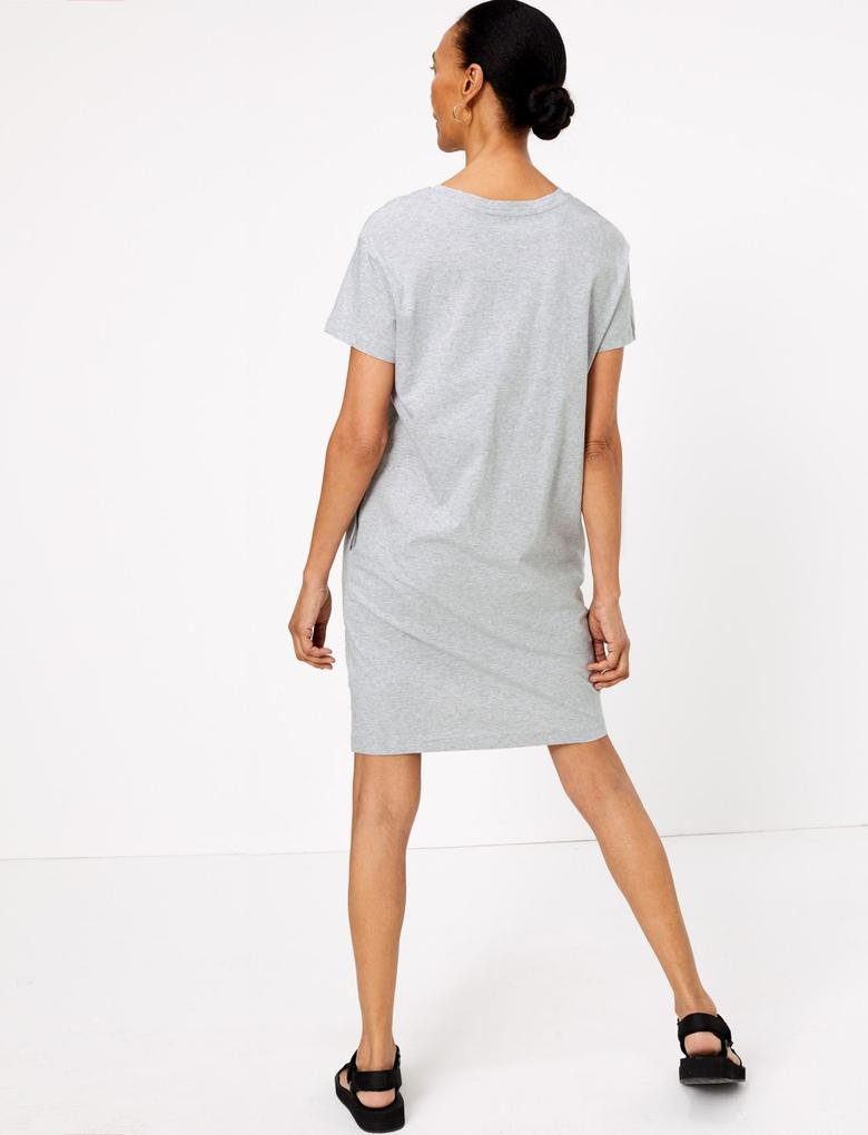 Kadın Gri Saf Pamuklu Mini Elbise