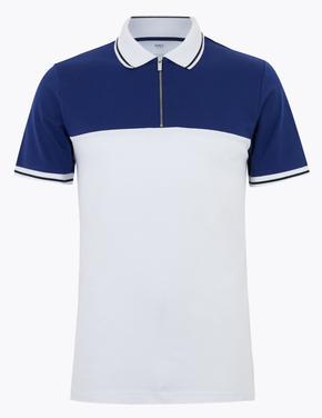 Beyaz Yarım Fermuarlı Polo Yaka T-Shirt