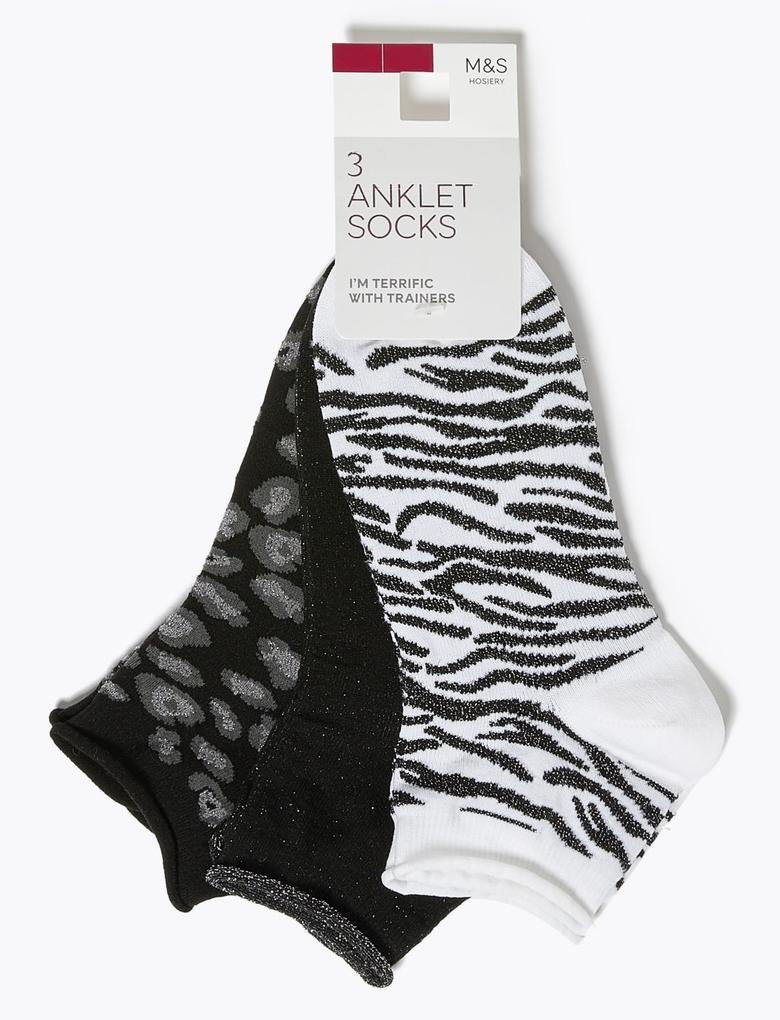 Kadın Gri 3'lü Soket Çorap Seti